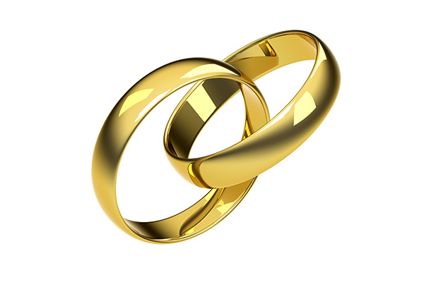 3D Wedding Rings Gold