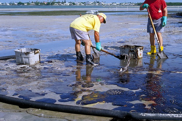 Cleaning Oil off a Beach at Low Tide
