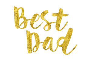 Best Dad Gold Foil Text