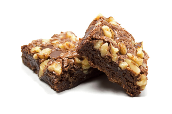 Brownies with Walnuts on White
