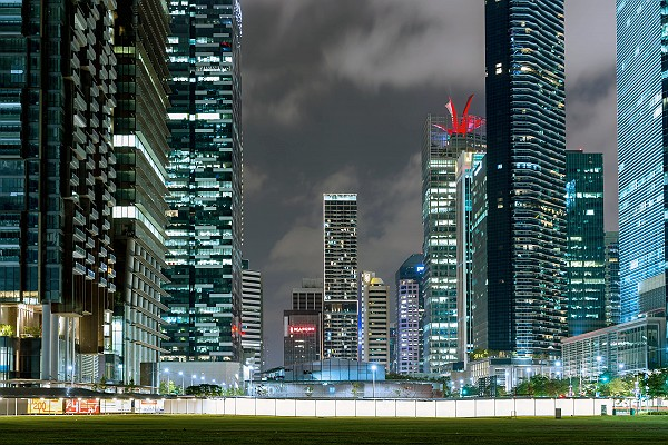 Singapore Skyscrapers at Night