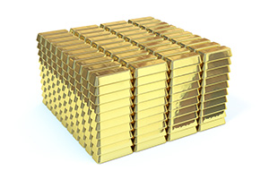 3D Gold Bar Stack