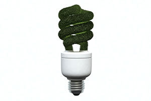 3D Green Light Bulb