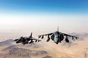 AV 8B Harrier Jets Over Afghanistan