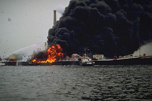 Barge Cibro Savannah on Fire