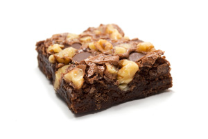 Brownie with Walnuts on White