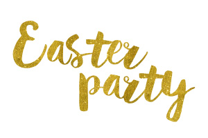 Easter Party Gold Foil Text