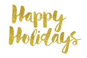 Happy Holidays Gold Foil Text