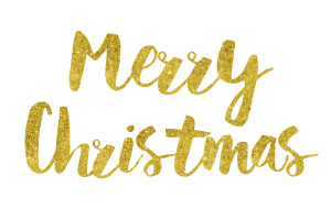 Merry Christmas Gold Foil Text