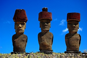 Moai With Red Topknot Hats