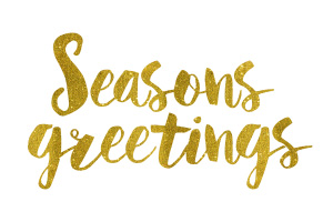 Seasons Greetings Gold Foil Text