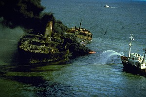 The Tanker Burmah Agate on Fire