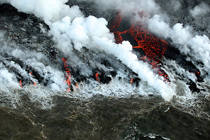 Viscous Lava Hits Ocean Water