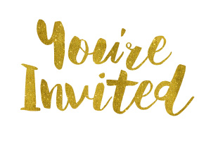 You're Invited Gold Foil Text